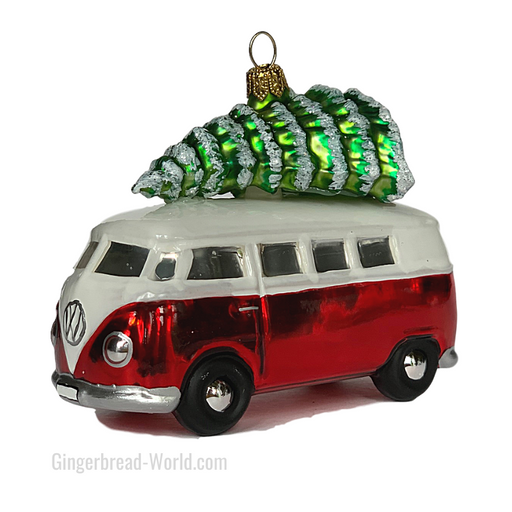 Gingerbread World European Ware Haus - Hanco Glass Ornament VW Bus Campervan Red with Tree - H283001 - Officially Licensed Volkswagen Product