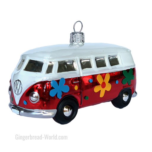 Gingerbread World European Ware Haus - Hanco Glass Ornament VW Bus Hippie Flowers H228409 -  - Officially Licensed Volkswagen Product