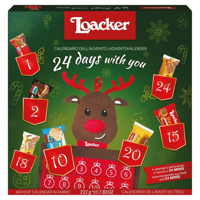 Gingerbread World Loacker Chocolate Filled Advent Calendar - Open with Basket