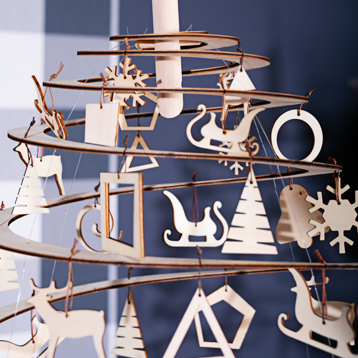 Gingerbread World Spira Wooden Christmas Tree Accessories - Festive Wood Ornaments
