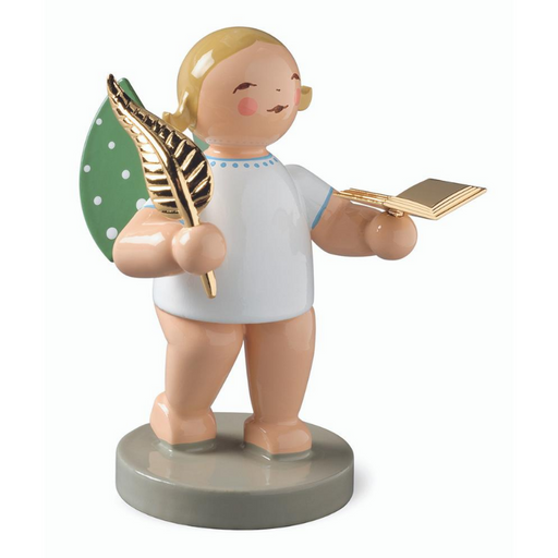 Gingerbread World Wendt and Kuehn Canada - Gold Edition No 6 Poet Angel with Gold Plated Book and Quill WK650-119