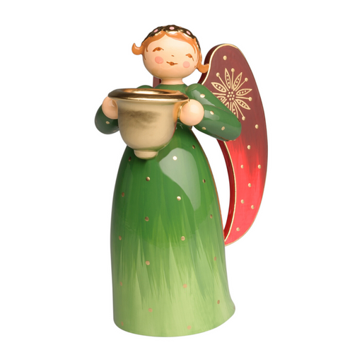 Wendt & Kühn Richly Painted Angel, Green, with Candle Holder