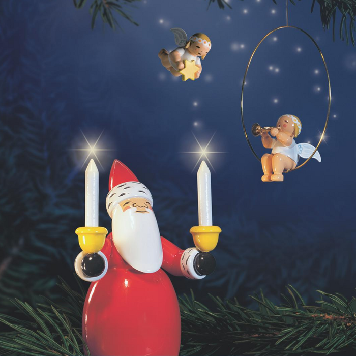 Gingerbread World Wendt and Kuehn Canada - Santa Holding Candles White WK5301-2