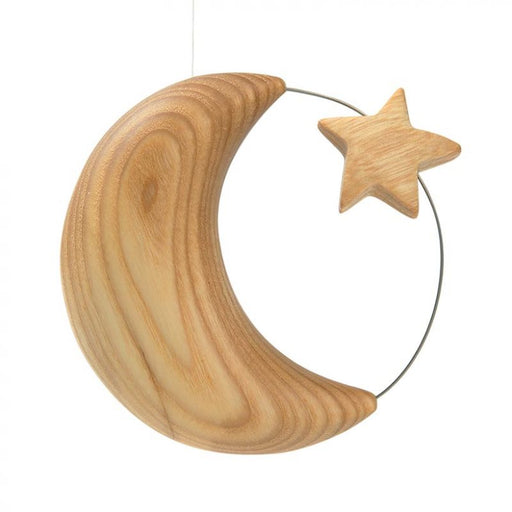 Waldfabrik Wood Folk Art Hanging Ornament - Moon with Star - Gingerbread World European Living
