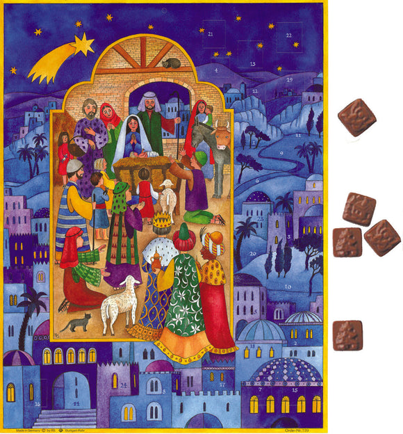 Gingerbread World Richard Sellmer Verlag European Advent Calendar with German Milk Chocolate