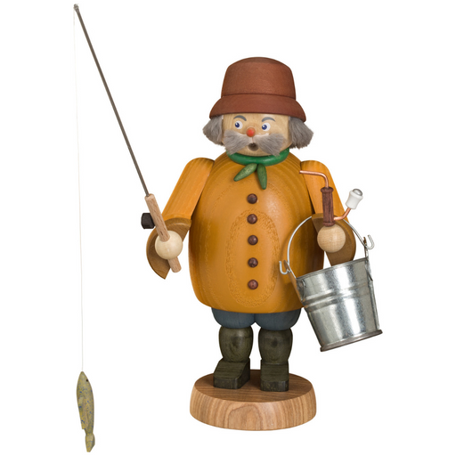 Gingerbread World Seiffener Volkskunst Christmas Smoker Figure - Fisherman SV12662