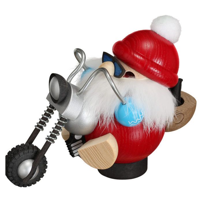 Gingerbread World Seiffener Volkskunst Christmas Smoker Figure - Kugel Santa on Motocycle SV19169
