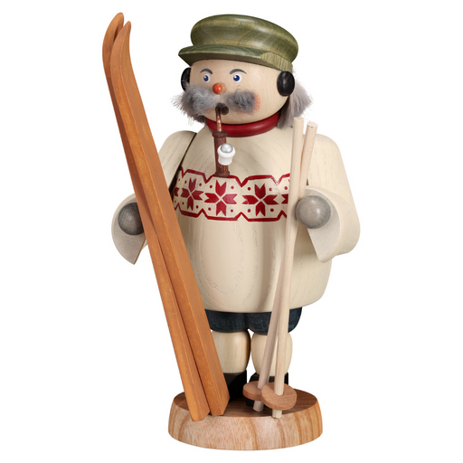 Gingerbread World Seiffener Volkskunst Christmas Smoker Figure - Skier SV12668
