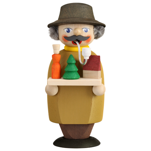 Gingerbread World Seiffener Volkskunst Christmas Smoker Figure - Small Toy Salesman SV12255