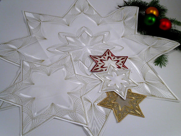 Christmas Table Linens - Star Centre pieces. Imported from Germany by Gingerbread World