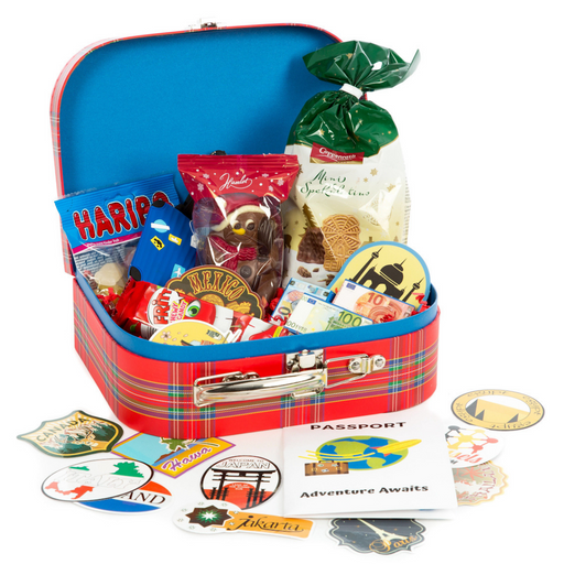 Gingerbread World Travel themed Kids Gift Box - Small Suitcase filled with treats and fun GBW1911