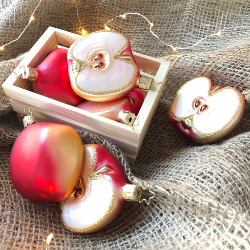 Inge-Glas Canada - Glass Christmas Ornaments - Appkle Slice with Gold Trim