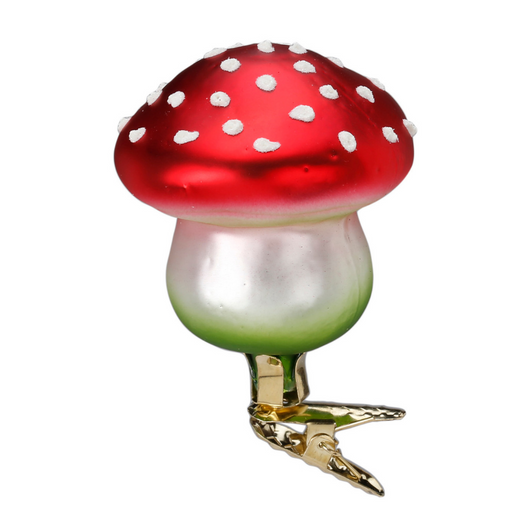 Inge-Glas Canada - Glass Christmas Ornaments - Lucky Charm Toadstool Clip On Ornament