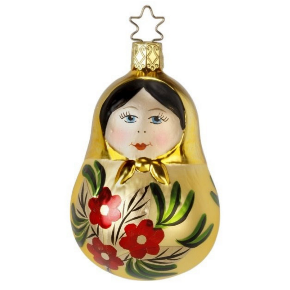Inge-Glas Canada - Glass Christmas Ornaments - Matroshka Doll Ornament Gold