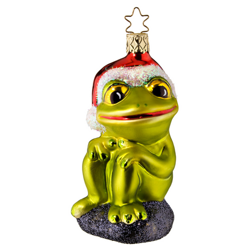 Inge-Glas Canada - Glass Christmas Ornaments - Merry Ribbit Frog Ornament