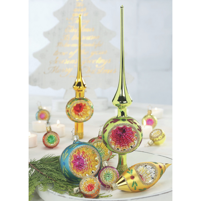 European Ware Haus Gingerbread World Glass Christmas Ornament – Inge-Glas Reflection Tree Topper Green