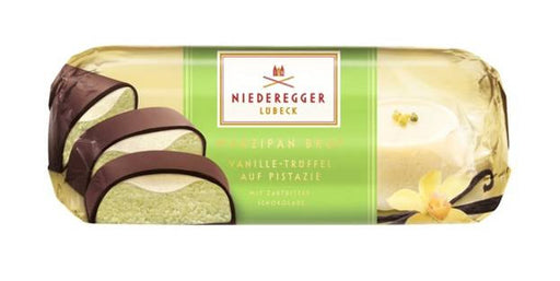 Gingerbread World Niederegger Filled Pistachio Marzipan Loaf with Vanilla Truffle, 75 grams