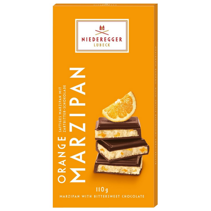Gingerbread World Niederegger Dark Chocolate Orange Marzipan, 110 gram Bar