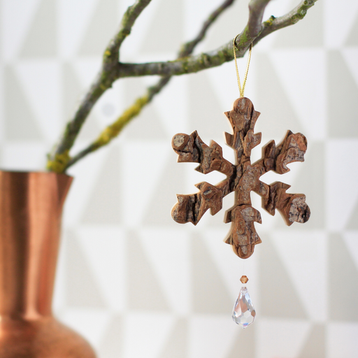 Waldfabrik Hanging Ornament - Snowflake with Crystal