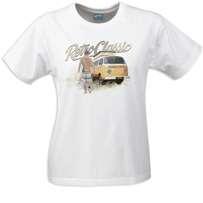 Gingerbread World European Ware Haus - RetroClassic Clothing Vintage VW T-Shirt - Surfer Dude and Bus