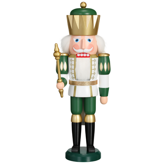 Seiffener Volkskunst Exclusive Christmas Nutcracker - White & Green King