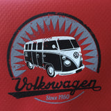 Vintage VW Bus on a bright red wallet made of tough Tarpaulin material