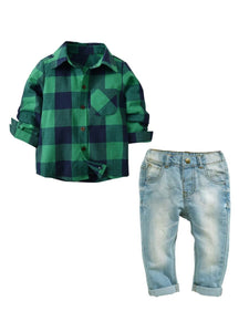 Trendy Green Flannel Set