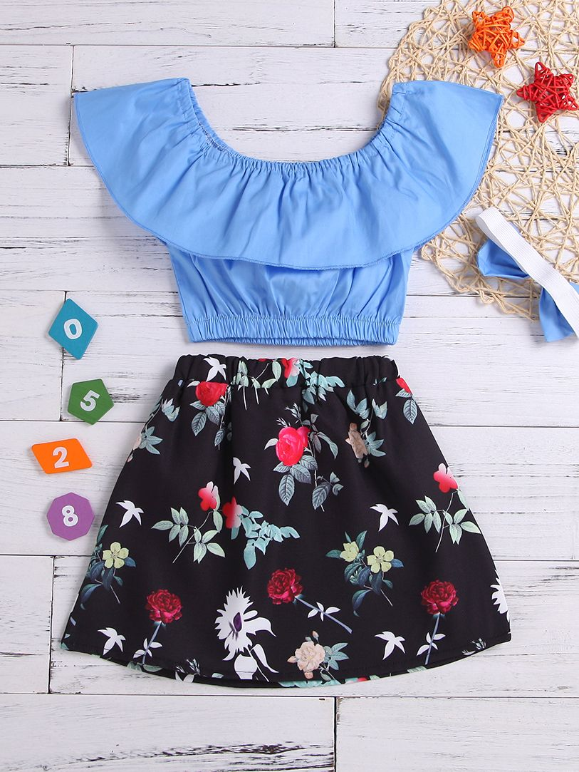 Sweetheart Blue Top & Skirt Set