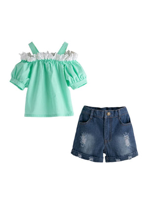 Teal Top & Jean Shorts Set