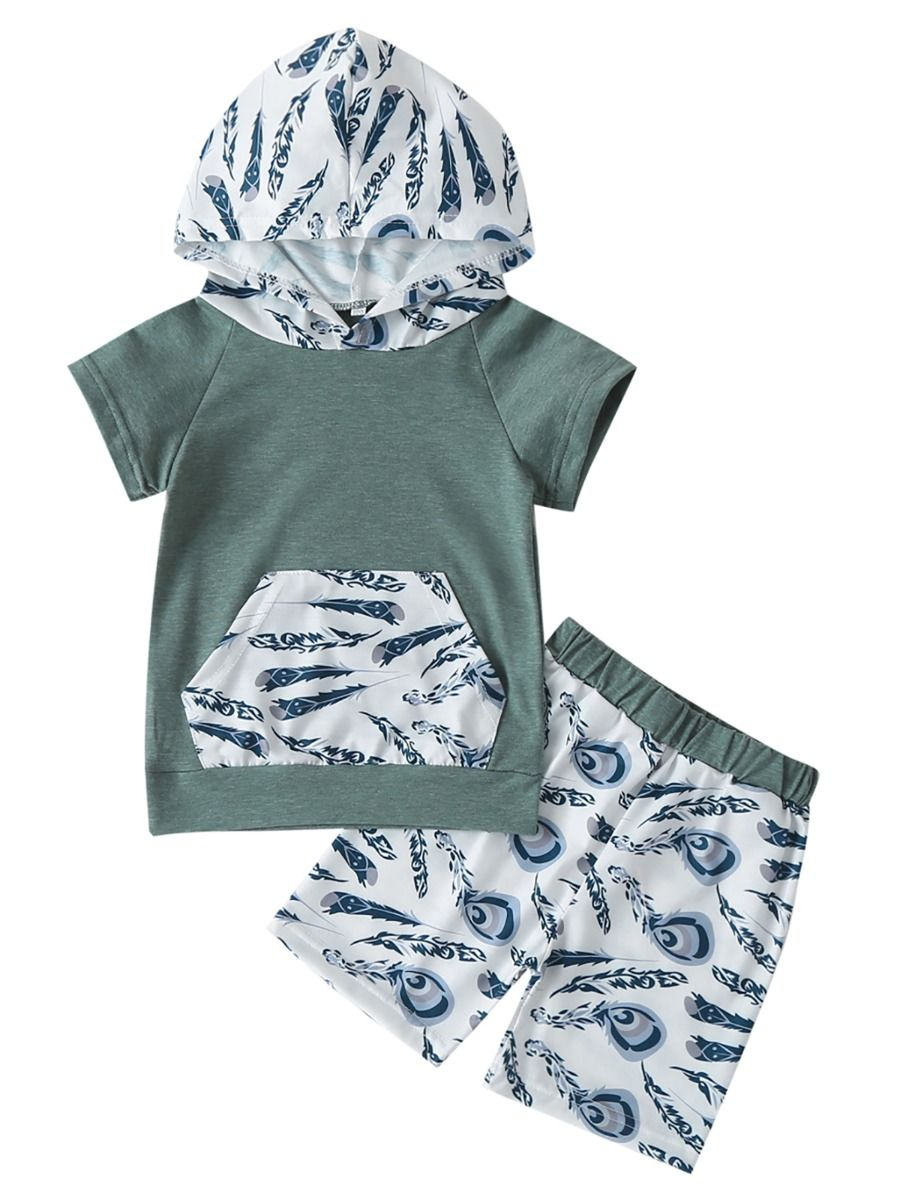 Feather Top & Shorts Set