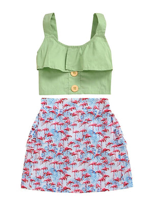 Green Top & Flamingo Skirt Set