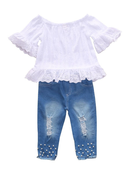 Sweetheart Beaded Jeans Set