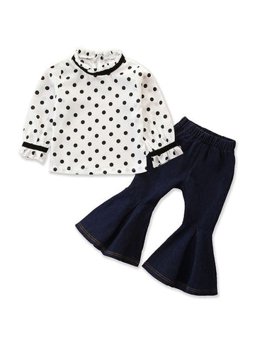 Polka Dot Flared Jeans Set