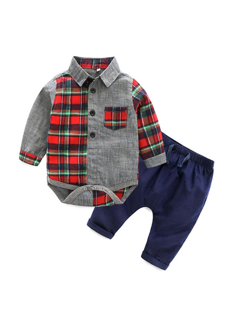 Plaid & Navy Set