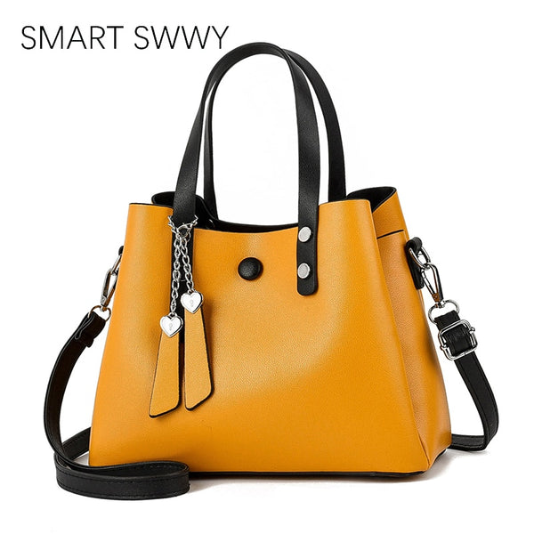 PU Leather Yellow Shoulder Bags Female