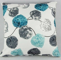 Grey Throw  Pillow  Leaves  Cover18x18""