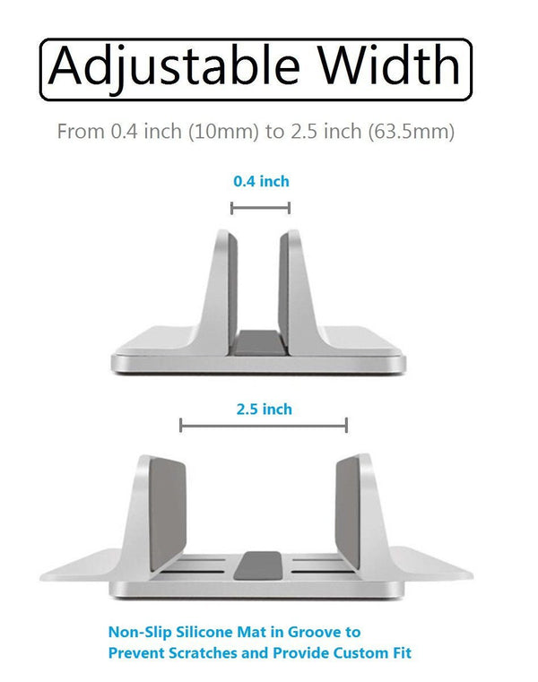 Vertical Laptop Stand [Adjustable] Desktop Aluminum Compact Fit All Sizes - Silver - GodSpin