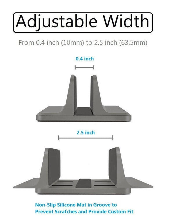 Vertical Laptop Stand [Adjustable] Desktop Aluminum Compact Fit All Sizes - Space Gray - GodSpin