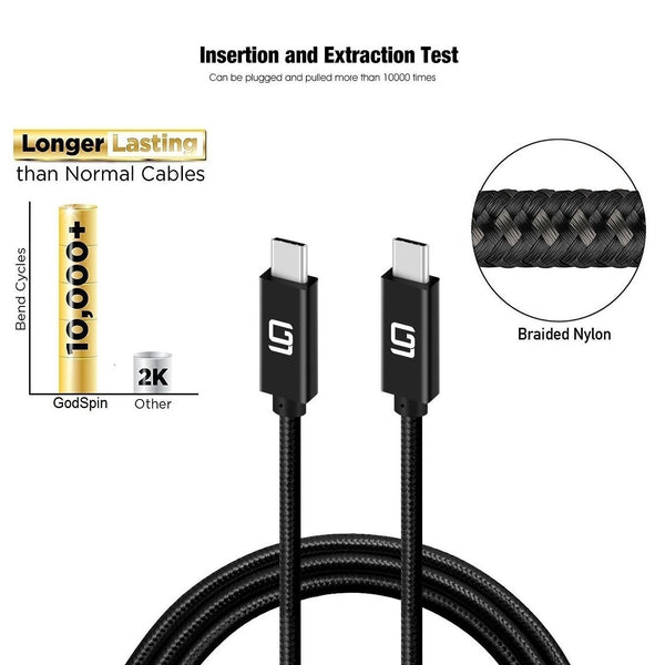 USB-C to USB-C Cable (20Gbps) Nylon Braided, Fast Charging, Dual 4K, 100W (1.6t/0.5M) - GodSpin