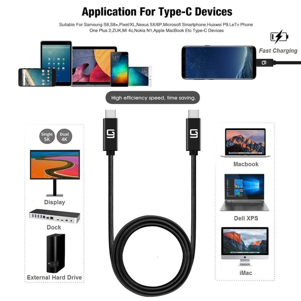 USB-C to USB-C Cable (20Gbps) Nylon Braided, Fast Charging, Dual 4K, 100W - GodSpin