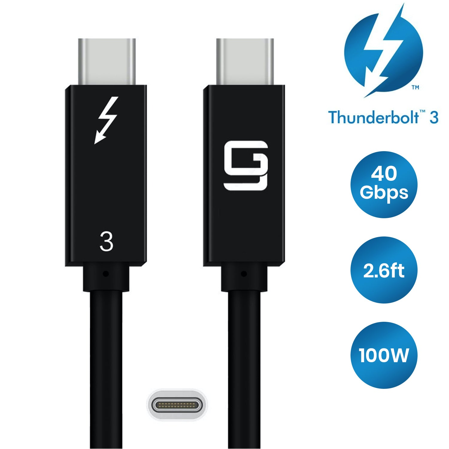 CY Thunderbolt 3 USB-C USB 3.1 Male to Thunderbolt 3 Male 40Gbps Cable for PC /& Laptop 2M