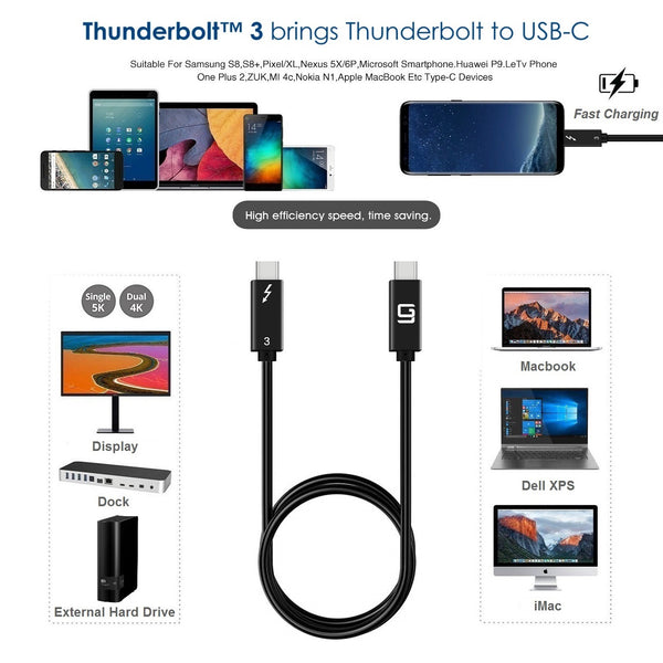 GodSpin Thunderbolt 3 Cable [Intel Certified]  Superspeed (40Gbps) 2.6ft - GodSpin