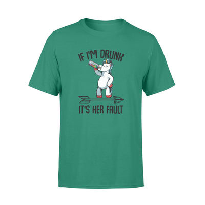If I_m Drunk It_s Her Fault Unicorn Funny Wine Lover Couple White - Standard T-shirt