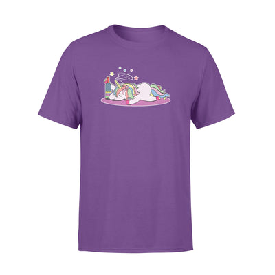 Funny drunken Unicorn Party Rainbow Wine Beer T-Shirt S - 6XL big plus size - Standard T-shirt