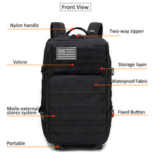 Load image into Gallery viewer, Large Waterproof Rucksack for Gym Sports Travel and Hiking (45 L)