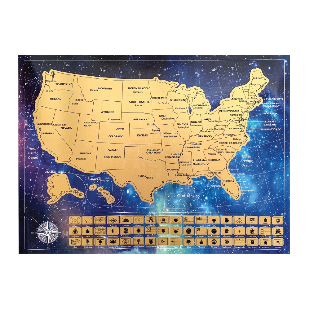 Scratch Off USA Map Poster and Presentation Tube