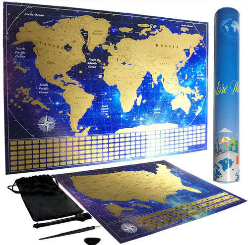 Scratch Off USA and World Map Poster Set