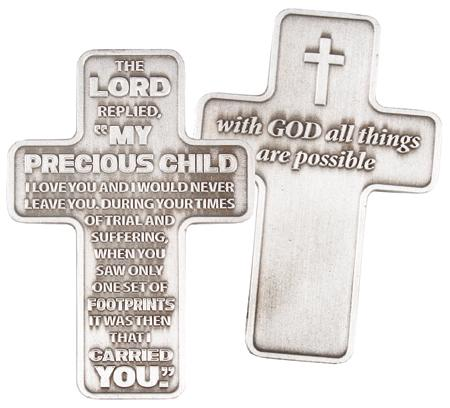 Cross Pocket Token - Footprints Verse-Pocket Token-Serenity Gifts