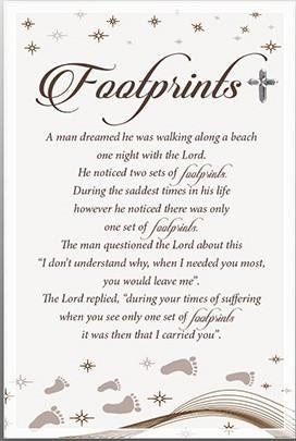Glass Plaque - Footprints Verse-Plaque-Serenity Gifts
