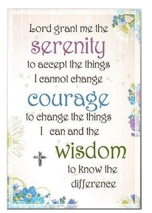 Glass Plaque Floral - Serenity Prayer Verse-Plaque-Serenity Gifts